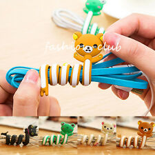 2x Cartoon Animal Earphone Thread Wrap Cable Winder Wire Holder Organizer Random