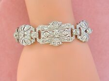 "ESTATE ART DECO 3.42 CARATS DIAMOND PLATINUM FILIGREE LINK COCKTAIL 7"" BRACELET"