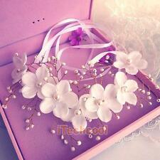 Women Flower Floral Pearl Bridal Headband Hairband Wedding Prom Hair Accessories