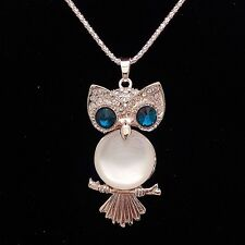 Fashion Gold Plated Opal Owl Pendant Crystal mosaic Necklace MYL162
