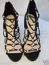 ALDO Women Peterbell Black and Gold Embossed Open Toe Gladiator Sandals size 6.5