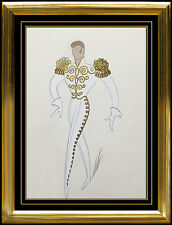 ERTE Original Gouache Painting Authentic Signed Art Deco Male Costume Design SBO