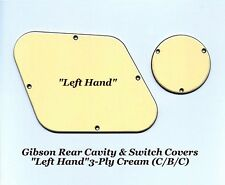 Gibson Les Paul LP LEFT Hand 3-Ply Creme Rear Cavity Control Covers Project NEW