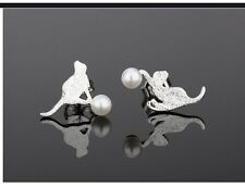 Sterling Silver Cat Kitten Pearl Ball Designer Earrings Stud Novelty gift box AJ