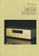 Accuphase dp-510 Catalogo Prospetto Catalogue datasheet brochure