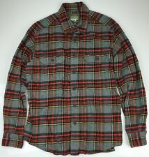 Mens Eddie Bauer Sport Shop Shirt Thick Hunting Soft Flannel Red Plaid - Large