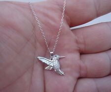 925 STERLING SILVER DESIGNERS HUMMING BIRD PENDANT NECKLACE W/ .75 CT DIAMONDS