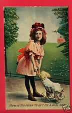COMIC GIRL MAMA IS TOO MEAN BABY DOLL BUGGY VAUDEVILLE COMICS  POSTCARD