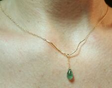 Dangle pear Zambian Emerald solid 14k gold twist wave beads necklace pendant