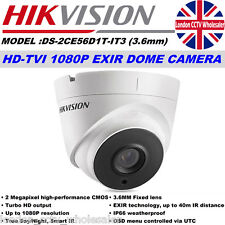 Hikvision DS-2CE56D1T-IT3 2MP 3.6mm 40M IR 1080P HD-TVI EXIR  Dome Cam UK Model