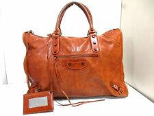 Authentic BALENCIAGA Brown The Weekender 110506 Leather Handbag w/ Mirror