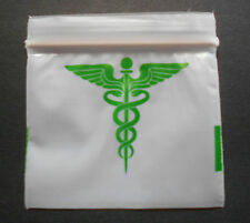 100 Green Caduceus (2x2) Small White Poly Bags (2020) Tiny Ziplock Dime Baggies