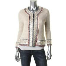 Tory Burch 1953 Womens Beige Linen Applique Cardigan Sweater Top L BHFO