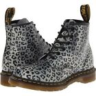 Dr Martens 101 Doc Gray Black Leopard 6-Eye Leather Boots SZ 7 US 5UK AirWair