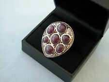 LOT 504 RATNAPURI RUBY + WHITE TOPAZ 13.89CT SOLID STERLING SILVER RING SIZE S