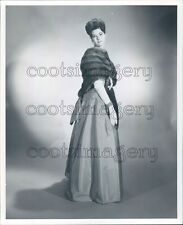 Lovely Woman Hair Up Models Long Dress White Gloves & Fur Press Photo