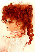 Jointed Bisque Porcelain Classic Red Haired Victorian Doll Pink Dress Long Train