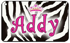 Zebra Tiara Bicycle License Plate Personalize Gifts Girls Ladies Scooter Lockers