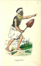 1852 COSTUME GUERRIERO TONGA TABOU lithography Nukuʻalofa Polynesia Kolomotu'a