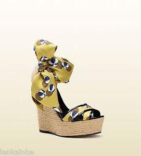 Gucci Carolina Beach Ball Espadrille Wedge Sandals Shoes 38 8 $770