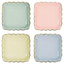 Pastel Paper Plates, Apricot, Mint, Blue & Lemon, Wedding/Party, LARGE pack of 8