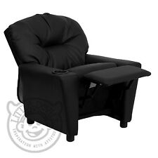 BLACK RECLINER KIDS/CHILDRENS ARMCHAIR/GAMES CHAIR/SOFA/SEAT in PU LEATHER LOOK