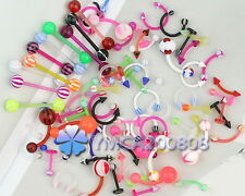 80X wholesale Assorted flex lip tongue eyebrow piercing bar barbell body jewelry