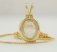 "9ct Yellow Gold Moonstone 9x11mm Pendant w/ 18"" 1mm Curb Chain"