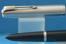 Vintage Parker 51 MKI Vacumatic Blue Diamond Fine Fountain Pen, India Black