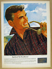 1964 Sir Pendleton plaid shirt Ted Rand men's fashion art vintage print Ad