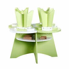 Color Life Kids Children Floral Table and 4 Chairs Green&White Toddler 5pcs