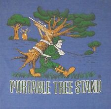 Vtg Portable Tree Stand Deer Hunter Humor Tee Thin Soft Made In USA Sz XL 42""
