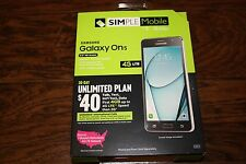 "Brand New Simple Mobile T-Mobile Samsung Galaxy On5 4G LTE Prepaid 5"" Smartphone"