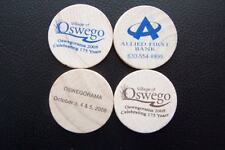 Oswegorama 2008 Wooden Nickels Set of 4 Oswego IL Illinois