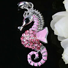1pc Pink Enamel Seahorse Crystal Rhinestone Silver Plated Pendant fit Necklace