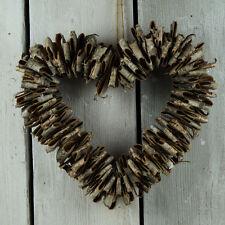 Naturel de noël d'écorce de bouleau hanging heart couronne rustique chic mariage décoration