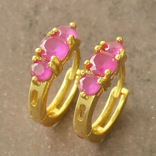 Classic 9k Yellow Gold Filled Red Cubic Zirconia Ladies hoop earrings F4978