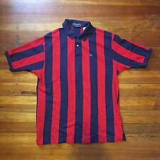 Burberry Men's Shirt Large Stripped Black And Red Vintage Made In USA