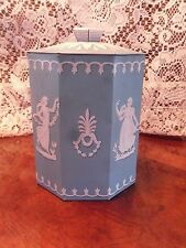 Vintage Tin Murray Allen Regal Crown Wedgewood Design Blue Octagon With Lid
