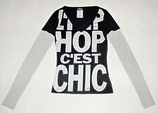 D&G DOLCE&GABBANA black silver t-shirt L'HIP-HOP C'EST CHIC donna 38 IT 24US XS
