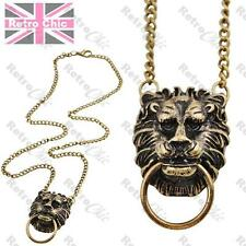 LION HEAD DOOR KNOCKER vintage brass NECKLACE chain doorknocker LIONHEAD pendant