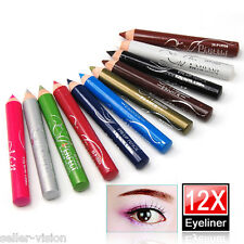 12 x Colours Mini Eyeliner Eye Pencils Liner Waterproof Shadow Make Up Set Brow