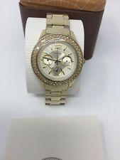 FOSSIL STELLA ES3589 Ladies Gold Dial Gold Stainless Steel Bracelet Watch NEW