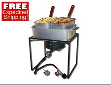French Fry Stove Deep Fryer Food Double Basket Cooker Portable Propane Outdoor
