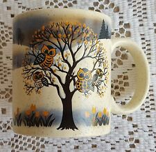 Vintage Otagiri Japan Owls in Tree Speckled Mug 12 Ounce Stoneware Speckled