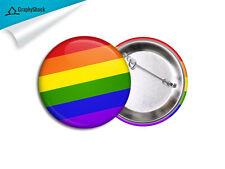 Gay Pride Pinback Badge BIG 2-1/4in 58mm Button Pinback Badge Button Pin Pins