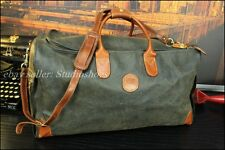 Bric's Made In Italy Vintage Rustic Green Duffle Bag With Strap Leather Trim