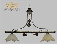 lampadario in ferro bilancia 2 luci decoro antichizzato cucina,taverna,sala
