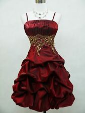 Cherlone Plus Size Burgundy Ball Evening Formal Bridesmaid Wedding Dress 18-20