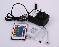 24 key IR Infrared Controller remote+12V power Adaptor fr RGB Strip /flood Light